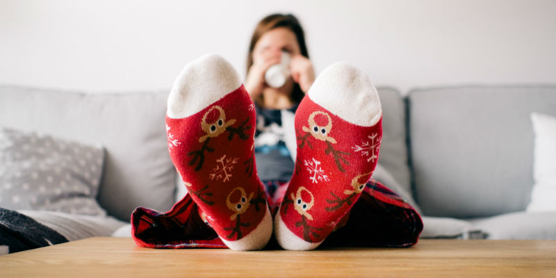 Person wearing Christmas socks