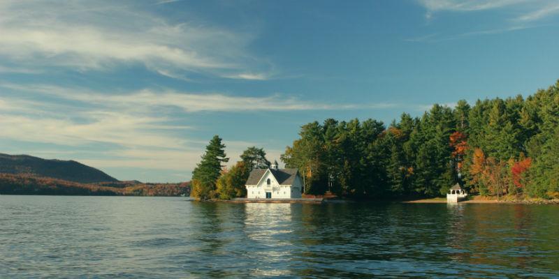 A remote property on a lake