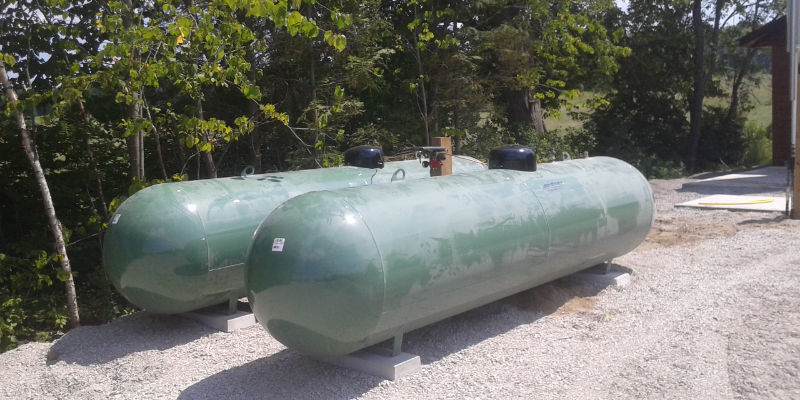 Two residential propane tanks