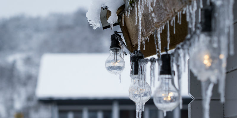 Winter icicles on house
