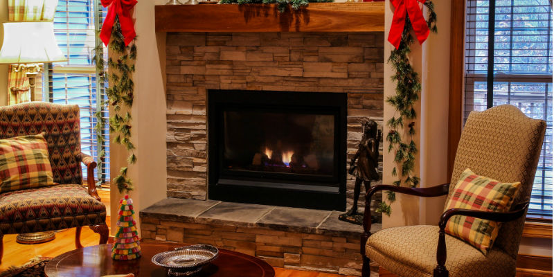 Propane fireplace in Christmas-themed house